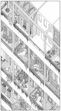 archiveofaffinities: James Wines/SITE, High Rise of Homes, Catalog of House Units, Major Urban Center, 1981 Paper Architecture, Architecture Visualization, Architecture Graphics, Architecture Drawings, Architecture Plan, Alison And Peter Smithson, Axonometric Drawing, Planer Layout, Perspective Drawing
