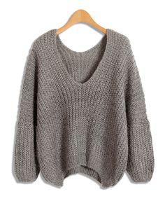 Gray V Neckline Mohair Knitwear