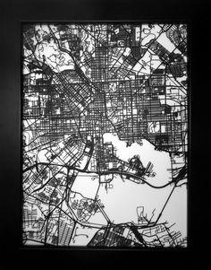 Baltimore, Maryland - 3D laser cut street map modern art 11x14 - custom city map wall decor business graduation wedding anniversary gift on Etsy, $65.00