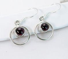 Silver Earring Garnet Earring Red  Earring Silver Earring lapis jewelry multi gemstone SEGAR-26053 by RiyoGems