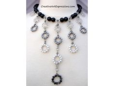 Gifted - Creative Art Expressions Handmade Black Gray & White Circle Drop Necklace  #BibNecklace #Wire Wrapping