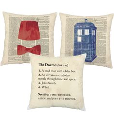Doctor Trio Fez Police Box Throw Pillows These pillows make me feel all wibbly and wobbly inside! #roomcraftfanfav