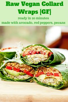 You'll be loving those New Year's Resolutions when you try these raw vegan collard wraps which come together within minutes and are bursting with flavors from the avocados, red pepper, alfalfa, pecans and tamari mix. Gluten Free too. 9 ingredients and 20 Raw Vegan Dinners, Raw Vegan Recipes, Vegan Foods, Vegan Dishes, Vegetarian Recipes, Healthy Recipes, Vegan Raw, Vegan Meals, Vegetarian Wraps