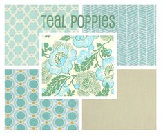 Custom Crib Bedding - Teal Poppies