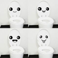 Wholesale 4 pc Creative Smile Toilet Stick Paste DIY Furniture Decorative Wall Sticker-inWall Stickers from Home & Garden on Aliexpress.com