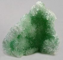 Green Gypsum Crystals - A soft mineral related to salt, Gypsum is used in drywall and plaster. It's also used to create tofu - making it a major source of dietary calcium in Asia.