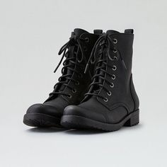 AE Lace-Up Bootie ($70) ❤ liked on Polyvore featuring shoes, boots, ankle booties, black, black lace up boots, black military boots, short black boots, lace up combat boots and black lace up booties