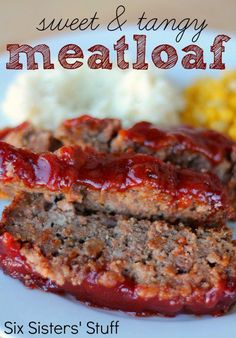 Sweet and Tangy Meatloaf from SixSistersStuff.com.  A new twist on our family's favorite dinner! #recipes #beef #meatloaf