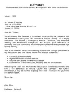 Firefighter Cover Letter Example  Cover Letter Example For Job