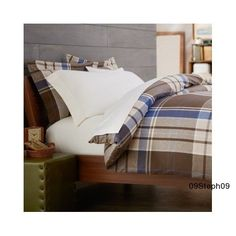 Cotton Flannel Plaid Duvet Bed Comforter Cover Full / Queen Brown Soft Warm Cozy