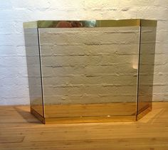 Brass & Smoked Glass Fireplace Screen image 2