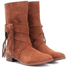 See By Chloé Suede Boots ($450) ❤ liked on Polyvore featuring shoes, boots, brown, see by chloe shoes, suede boots, brown suede shoes, suede leather shoes and see by chloe boots