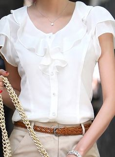 Cheap chiffon blouse, Buy Quality blouse fashion directly from China blouses plus Suppliers: Plus Size New Summer Women Blusas Fashion Short Sleeve Ruffles Chiffon Blouse Solid White Tops Blusas Casual Summer Blouses Chiffon Ruffle, Chiffon Shirt, Chiffon Tops, Ruffles, Ruffle Blouse, White Chiffon, Ruffle Collar, Sleeveless Tunic, Chiffon Cardigan