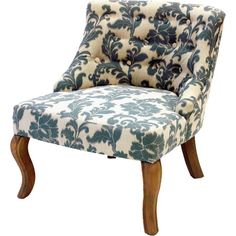 Add an elegant touch to your living room or den seating group with this wood-framed accent chair, featuring tufted damask-print upholstery. ...