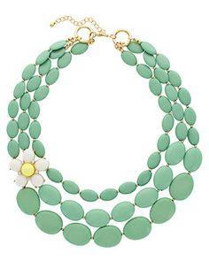 Sparkling Sage 14K Plated Resin Flower Necklace