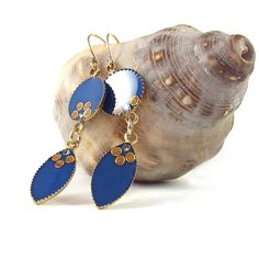 Blue  Gold  Long Dangle Earrings  Marquise  blue by @SigalitAlcalai, $41.00