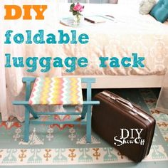DIY luggage rack: how to make a folding luggage rack and guest room spruce up.