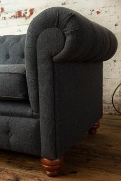 Unique British Handmade 3 Seater Dark Grey Herringbone Wool Chesterfield Sofa - Reflex Cushion Seat  Unique British Handmade 3 Seater Dark Grey Herringbone Wool Chesterfield Sofa – Reflex Cushion Se #British #Chesterfield #Cushion #dark #grey #Handmade #Herringbone #Reflex #seat #Seater #Sofa #Unique #Wool Foam Cushions, Cushions On Sofa, Chesterfield Armchair, Sofa Design, Timeless Design, Herringbone, Dark Grey, Upholstery, British