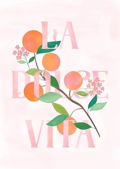 "italian for ""the good life"" or ""the sweet life"" Carly Watts Art & Illustration: La Dolce Vita Poster Retro, Vintage Poster, Poster S, Vintage Fonts, Typography Poster, Typography Design, Flower Typography, Poster Layout, Summer Typography"