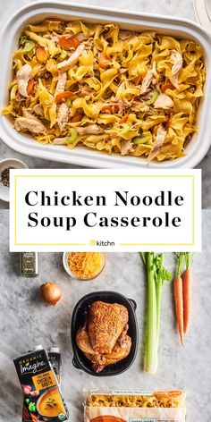 This Chicken Noodle Casserole Is Even More Comforting Than Chicken Noodle Soup Chicken Noodle Soup Casserole Best Chicken Noodle Soup, Chicken Noodle Casserole, Noodle Soups, Chicken Flavors, Chicken Recipes, Cooking Recipes, Healthy Recipes, Healthy Food, How To Cook Chicken