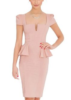 Ssyiz Women's Classic Short Sleeve Deep Neckline Peplum Cocktail Midi Dress ** Wow! I love this. Check it out now! : cocktail dresses