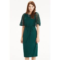 Buy Oasis Lace Sleeve Dress, Deep Green Online at johnlewis.com