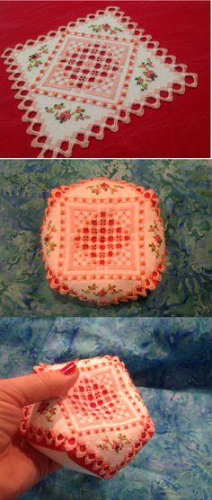 моя версия вот этой игольницы, переделанной в бискорню http://www.leealbrecht.blogspot.com.br/2011/03/amizade-em-hardanger.html