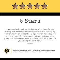 Our clients are very grateful for our lightworkers. We are so proud of them. Check out Nicole Bowman:  http://ift.tt/28Y7IX0  #nicolebowman #bestamericanpsychics #bap #shayparker #psychicreadings #readings #metaphysical #metaphysics #psychic #medium #coach #livethelight #review #testimonial #happyclient #grateful #satisfiedclient #spirit #spiritual #spirituality #award #winner #bestofthebest #simplythebest #best #whygoanywhereelse #bestinthebiz #bestpsychics #famouspsychics #quality