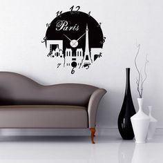 Style and Apply Paris Wall Clock Wall Decal Color: