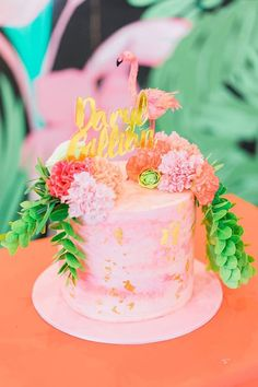 Tropical cake from a Tropical Flamingo Paradise Party on Kara's Party Ideas | KarasPartyIdeas.com (24)