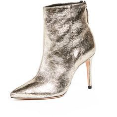 Schutz Ginny Point Toe Ankle Boots ($260) ❤ liked on Polyvore featuring shoes, boots, ankle booties, platina, leather sole boots, metallic booties, leather bootie, leather ankle booties and ankle boots