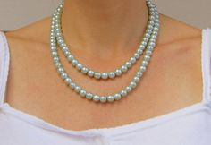 Items similar to Pearl Bridesmaids Necklace Set in Light Teal Double Strand with Dangle Earrings, Sweet Dreams on Etsy Necklace Set, Pearl Necklace, Blue Wedding, Bridesmaid, Pearls, Trending Outfits, Unique Jewelry, Handmade Gifts, Etsy