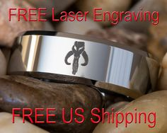 Tungsten Carbide Band 8mm Beveled Mandalorian Design Ring-Free Inside Engraving
