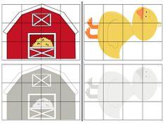 Farm themed cut and paste puzzles, 12 pieces each, 16 puzzles total!