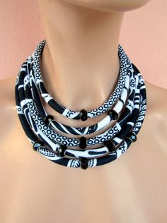 SALE NOW Black and white necklace/ fabric necklace/ elegant jewelry /african statement necklace by on Etsy African Necklace, African Jewelry, Ethnic Jewelry, Rope Jewelry, Beaded Jewelry, Jewelery, Fabric Necklace, Rope Necklace, Textile Jewelry