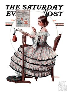 """""""Needlepoint"""" Saturday Evening Post Cover, March 1,1924 Giclee Print by Norman Rockwell at eu.art.com"""