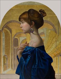 Egg Tempera painted Fred Wessel.  Evie, Tempera with Gold Leaf, 20 x 16   www.fredwessel.com