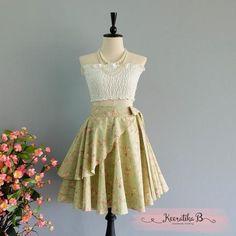Summer's Whisper Floral Skirt Spring Summer Sweet Floral Skirt Party Cocktail Skirt Wedding Bridesmaid Skirt Pale Green Floral Skirts
