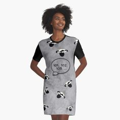 -  Graphic T-shirt Dress.   -  Sublimation printed 96% polyester, 4% elastane front panel.   -  Solid color 100% cotton back/sleeves/rib.   -  Loose casual fit. . . . #dress  #loosefitdress  #tshirtdress  #bitsofeverywhere  #counting sheep  #insomnia