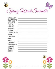 Word Scramble for Kids: Free Printable Spring Word Scramble: Free Printable. This fun activity is a great way to get kids excited about Spring! This fun activity is a great way to get kids excited about Spring! Assisted Living Activities, Nursing Home Activities, Elderly Activities, Dementia Activities, Senior Activities, Work Activities, Spring Activities, Activity Games, Activity Ideas
