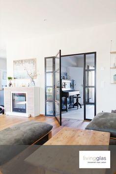 Mit unseren Qulitativen MHB Loft-Stahltüren bekommen Sie einen einzigartigen neuen look in Ihre Wohnung-Haus.   #modern# #architektonisch #zeitgenösslisch # zuhause #einrichten #wohlfühlig #Loftsitl #Qualität Loft, Modern, Divider, Inspiration, Furniture, Home Decor, Fireplace Doors, Bauhaus Style, Steel Frame