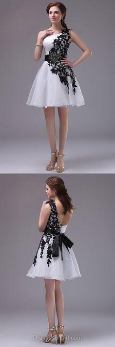 White Prom Dresses, One Shoulder Formal Dresses, Short Evening Dresses, Organza Homecoming Dresses, Cheap Graduation Dresses