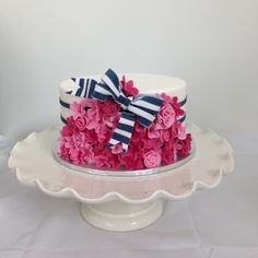 Butter In Love | Everything is better in love | Kate Spade Cake | Bonnie Gordon College | Navy and Pink | Striped Bow | Fondant | Single Tier Cake | 30th birthday cake |