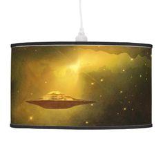 UFO alien galaxies space hanging lamp