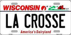 La Crosse Wisconsin Background Novelty Metal License Plate