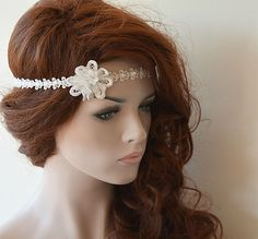 Rustic Lace Wedding Headband Flower and Lace Headband by ADbrdal #bride #wedding #weddingaccessory #weddinghair #weddingveil