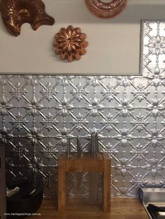 Splashback created from the pressed tin design called Fleur
