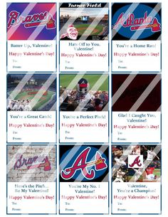 Atlanta Braves Valentines Day Cards Sheet #4 (instant download or printed)