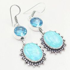 Dichroic Glass & Blue Topaz Silver Plated Earrings