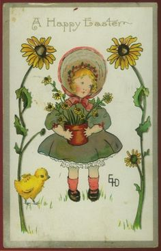 Sweet antique Easter postcard - Girl in bonnet with sunflowers - 1910.